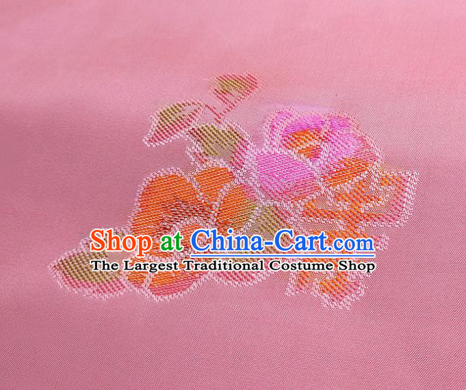 Asian Chinese Traditional Lucky Flowers Pattern Design Pink Silk Fabric China Hanfu Silk Material