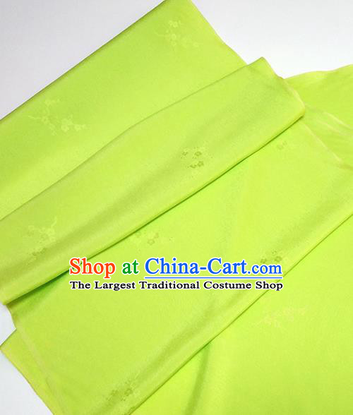 Asian Chinese Traditional Plum Blossom Pattern Design Light Green Silk Fabric China Hanfu Silk Material