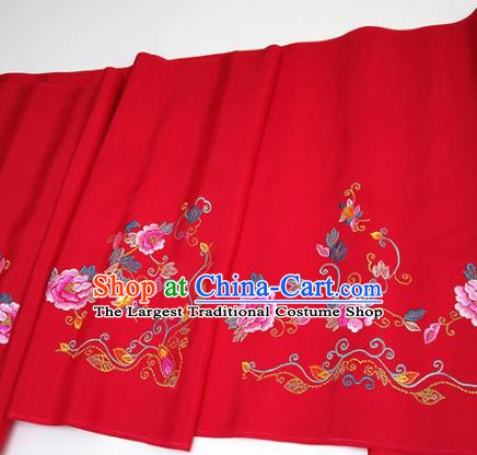 Asian Chinese Traditional Embroidered Peony Pattern Design Red Silk Fabric China Hanfu Silk Material