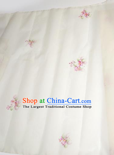 Asian Chinese Traditional Little Flowers Pattern Design White Silk Fabric China Hanfu Silk Material