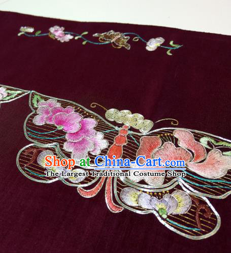 Chinese Traditional Embroidered Butterfly Pattern Design Wine Red Silk Fabric Asian China Hanfu Silk Material