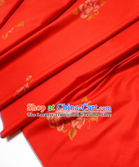 Chinese Traditional Roses Pattern Design Red Silk Fabric Asian China Hanfu Silk Material