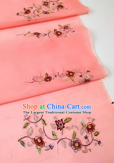 Chinese Traditional Royal Embroidered Pattern Design Pink Silk Fabric Asian China Hanfu Silk Material