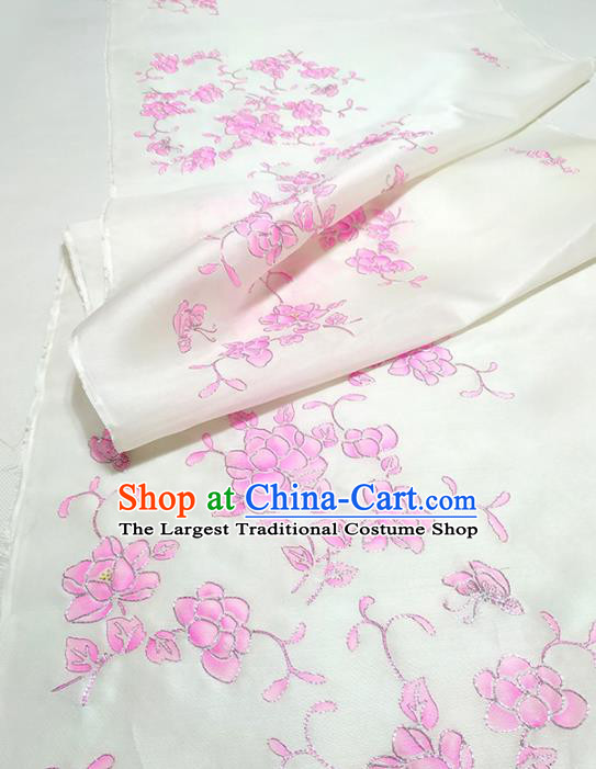 Chinese Traditional Embroidered Pattern Design White Silk Fabric Asian China Hanfu Silk Material