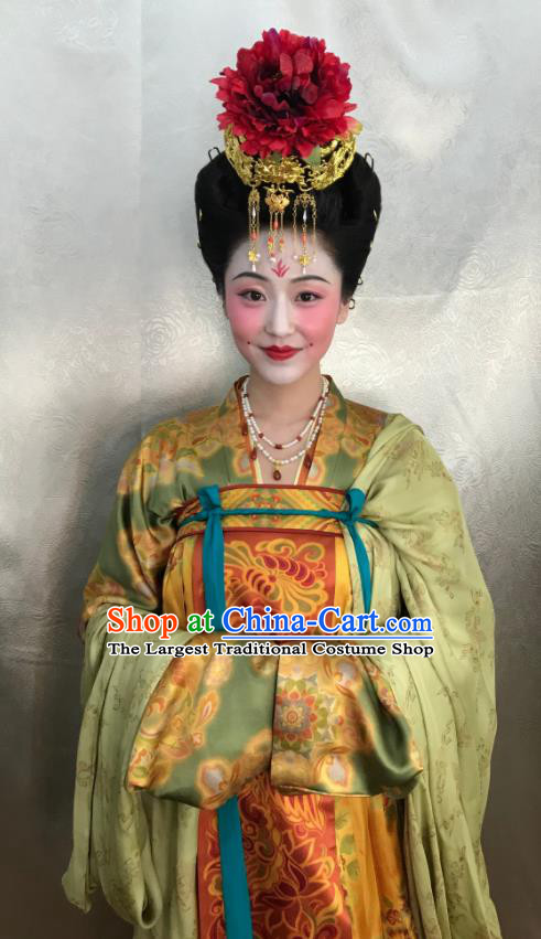 Chinese Ancient Tang Dynasty Court Lady the Longest Day in Chang An Replica Costumes and Headpiece Complete Set