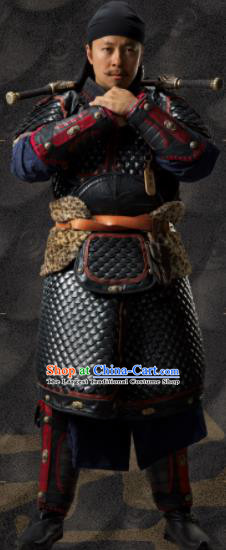 Chinese Ancient Tang Dynasty Imperial Bodyguard Body Armor the Longest Day in Chang An Cui Qi Replica Costumes and Headpiece Complete Set
