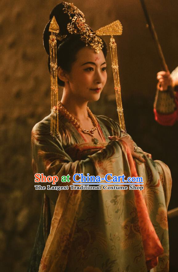 Chinese Ancient Tang Dynasty Imperial Consort the Longest Day in Chang An Xu Hezi Replica Costumes and Headpiece Complete Set