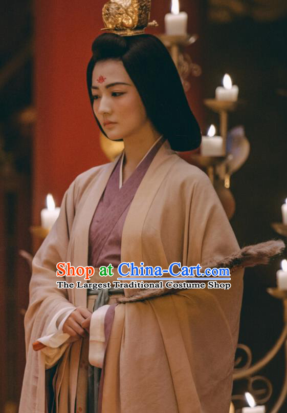 Ancient Chinese Tang Dynasty Empress Dress Drama the Longest Day in Chang An Yan Yuhuan Replica Costumes and Headpiece for Women