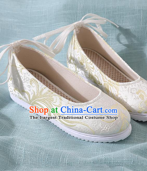 Chinese Handmade Light Yellow Brocade Shoes Traditional Ming Dynasty Hanfu Shoes Princess Shoes for Women