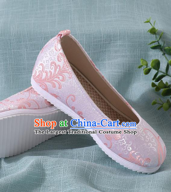 Chinese Handmade Pink Brocade Shoes Traditional Ming Dynasty Hanfu Shoes Princess Shoes for Women
