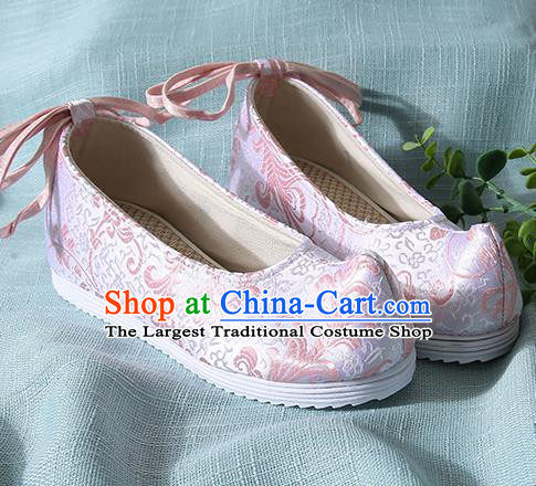 Chinese Handmade Pink Brocade Bow Shoes Traditional Ming Dynasty Hanfu Shoes Princess Shoes for Women