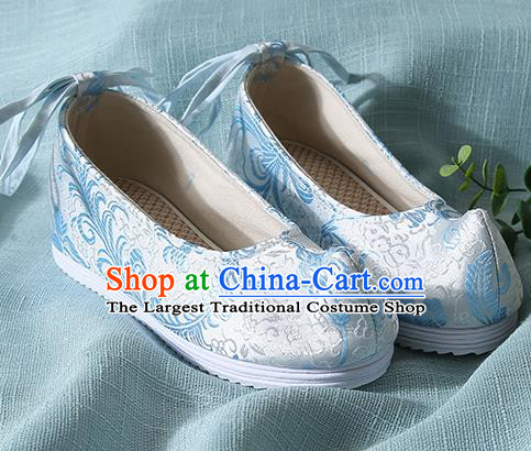 Chinese Handmade Blue Brocade Bow Shoes Traditional Ming Dynasty Hanfu Shoes Princess Shoes for Women