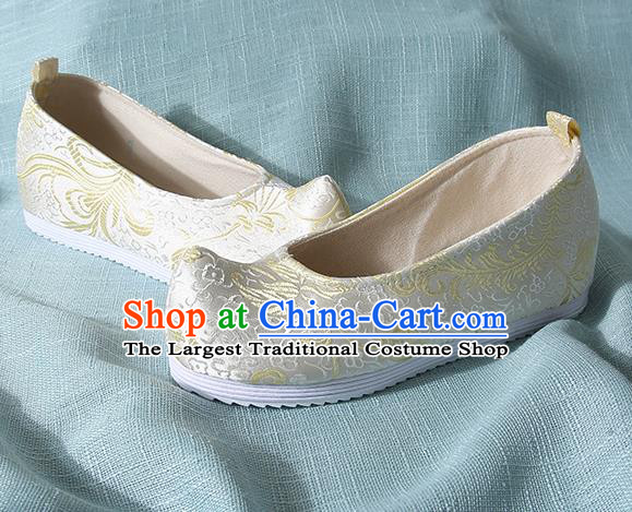 Chinese Handmade Yellow Brocade Bow Shoes Traditional Ming Dynasty Hanfu Shoes Princess Shoes for Women