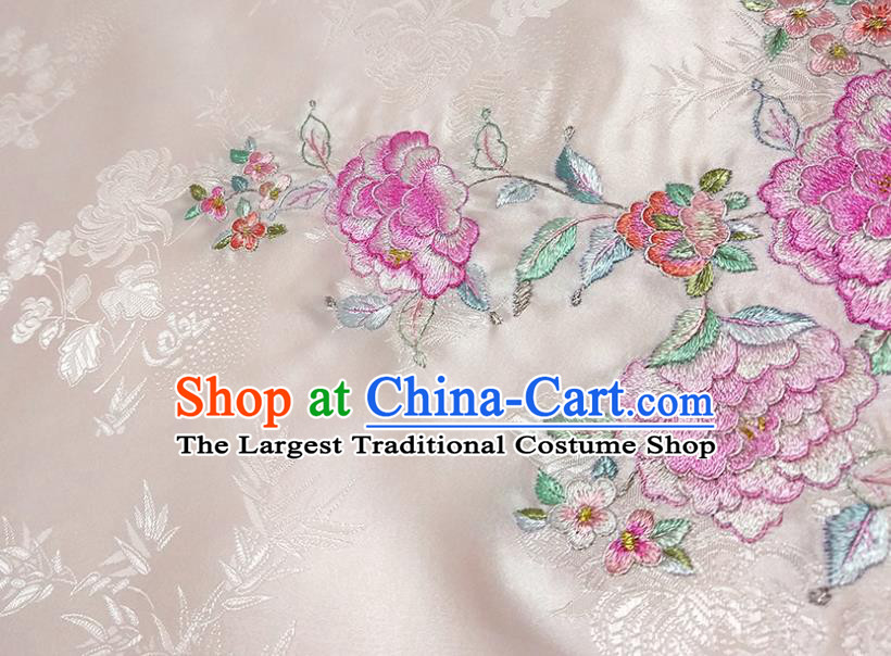 Chinese Traditional Embroidered Peony Pattern Design Light Pink Silk Fabric Asian Brocade China Hanfu Satin Material