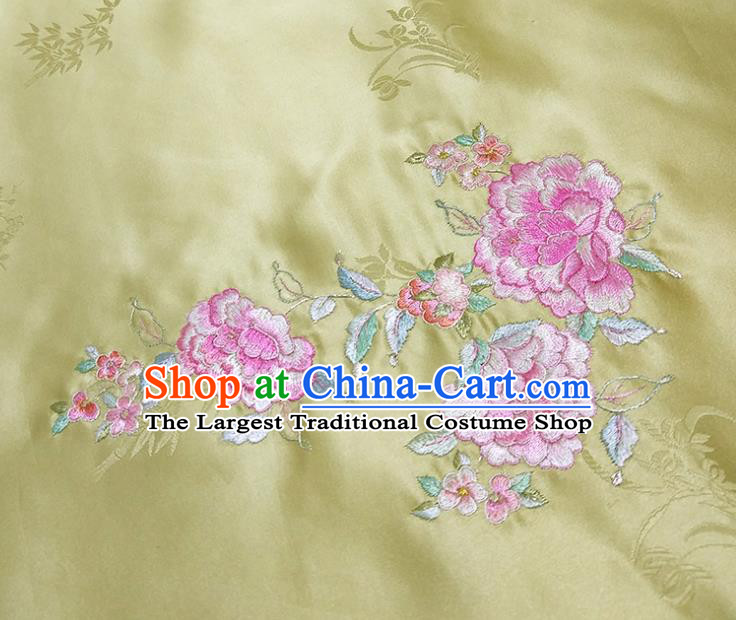 Chinese Traditional Embroidered Peony Pattern Design Light Green Silk Fabric Asian Brocade China Hanfu Satin Material