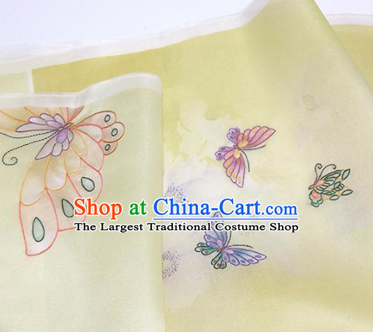 Chinese Traditional Printing Butterfly Pattern Design Yellow Silk Fabric Asian China Hanfu Silk Material