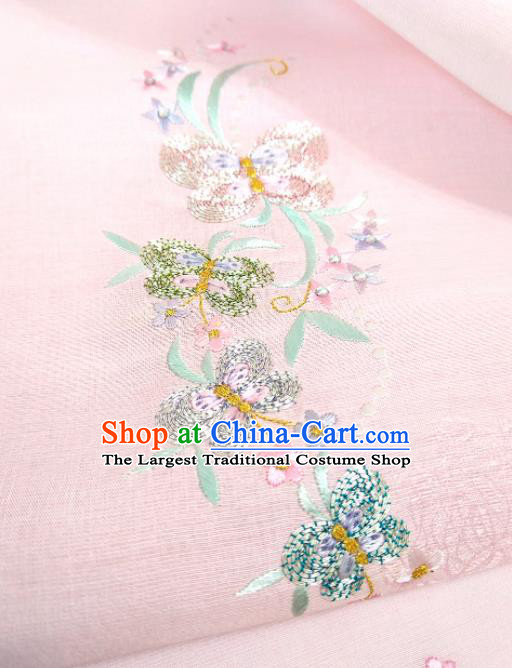 Chinese Traditional Embroidered Butterfly Pattern Design Pink Silk Fabric Asian China Hanfu Silk Material