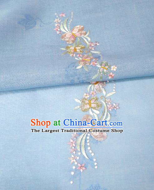 Chinese Traditional Embroidered Butterfly Pattern Design Blue Silk Fabric Asian China Hanfu Silk Material