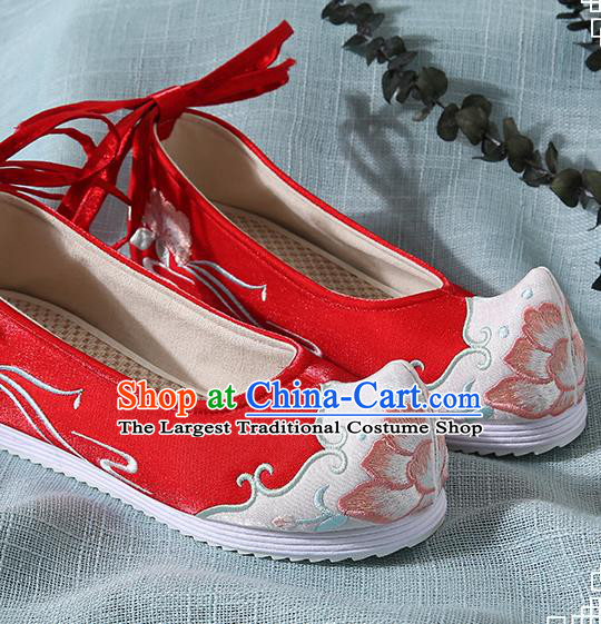 Chinese Handmade Red Embroidered Bow Shoes Traditional Ming Dynasty Hanfu Shoes Princess Shoes for Women