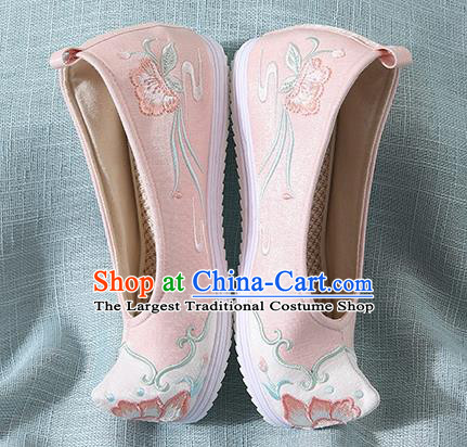 Chinese Handmade Pink Embroidered Bow Shoes Traditional Ming Dynasty Hanfu Shoes Princess Shoes for Women