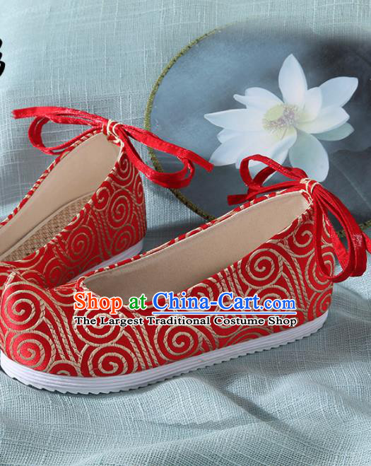 Chinese Handmade Red Brocade Bow Shoes Traditional Ming Dynasty Hanfu Shoes Princess Shoes for Women