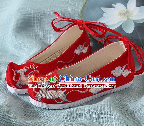 Chinese Handmade Embroidered Deer Red Bow Shoes Traditional Ming Dynasty Hanfu Shoes Princess Shoes for Women