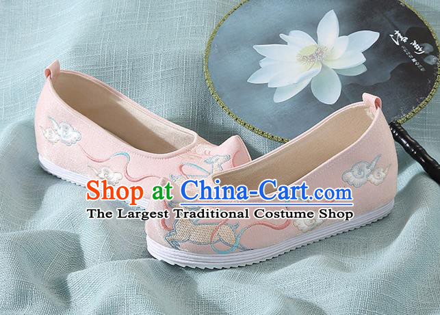 Chinese Handmade Embroidered Deer Pink Bow Shoes Traditional Ming Dynasty Hanfu Shoes Princess Shoes for Women