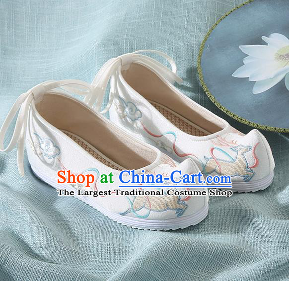 Chinese Handmade Embroidered Deer White Bow Shoes Traditional Ming Dynasty Hanfu Shoes Princess Shoes for Women