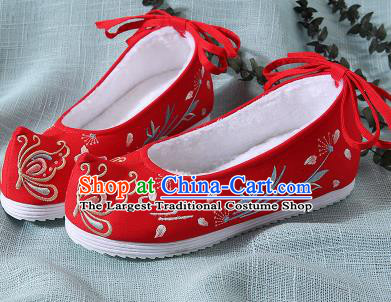 Chinese Handmade Embroidered Butterfly Red Shoes Traditional Ming Dynasty Hanfu Shoes Princess Shoes for Women