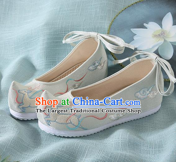 Chinese Handmade Embroidered Deer Light Green Bow Shoes Traditional Ming Dynasty Hanfu Shoes Princess Shoes for Women