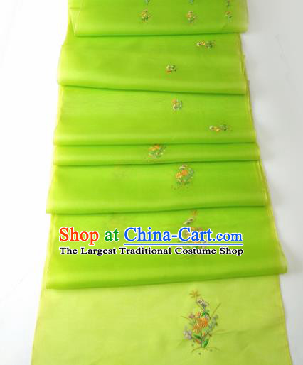 Chinese Traditional Embroidered Flowers Pattern Design Light Green Silk Fabric Asian China Hanfu Silk Material