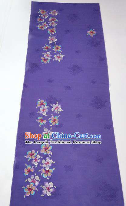 Chinese Traditional Embroidered Pattern Design Lilac Silk Fabric Asian China Hanfu Silk Material