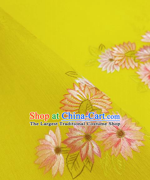 Chinese Traditional Embroidered Chrysanthemum Pattern Design Yellow Silk Fabric Asian China Hanfu Silk Material