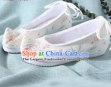 Chinese Handmade Embroidered Butterfly White Shoes Traditional Ming Dynasty Hanfu Shoes Princess Shoes for Women