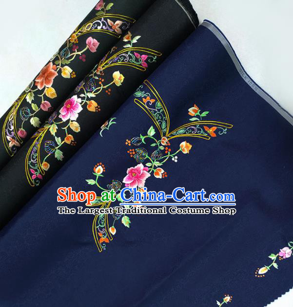 Chinese Traditional Embroidered Flowers Pattern Design Navy Silk Fabric Asian China Hanfu Silk Material