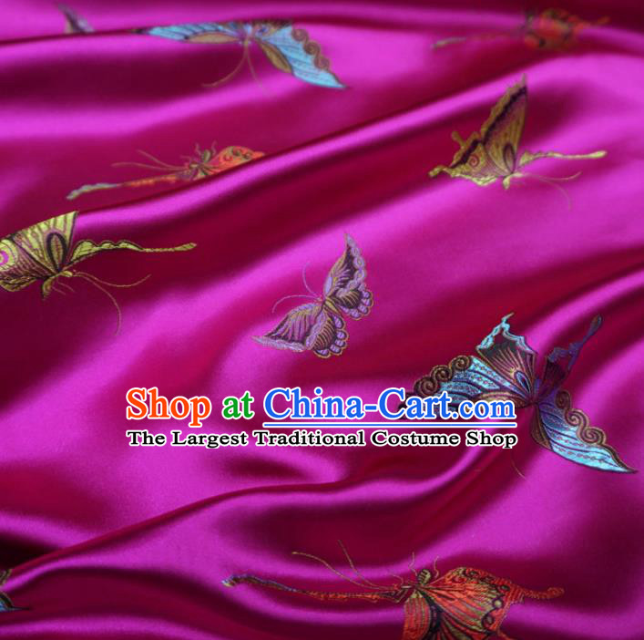 Chinese Traditional Colorful Butterfly Pattern Design Rosy Brocade Fabric Asian Satin China Hanfu Silk Material