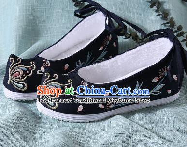 Chinese Handmade Embroidered Butterfly Black Shoes Traditional Ming Dynasty Hanfu Shoes Princess Shoes for Women