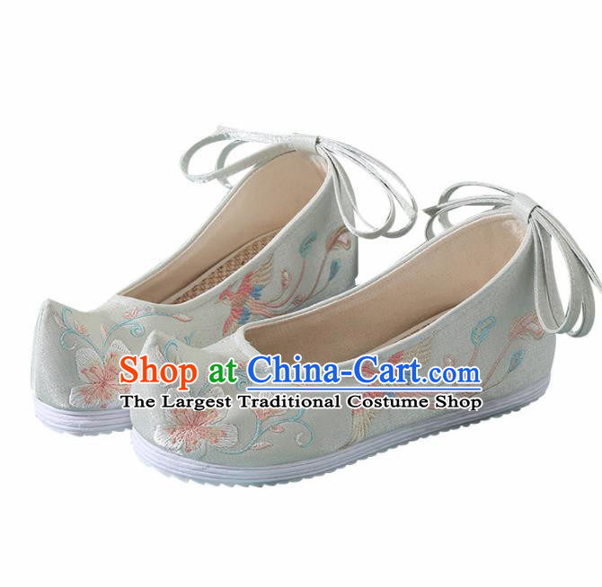 Chinese Handmade Embroidered Plum Bird Light Green Bow Shoes Traditional Ming Dynasty Hanfu Shoes Princess Shoes for Women