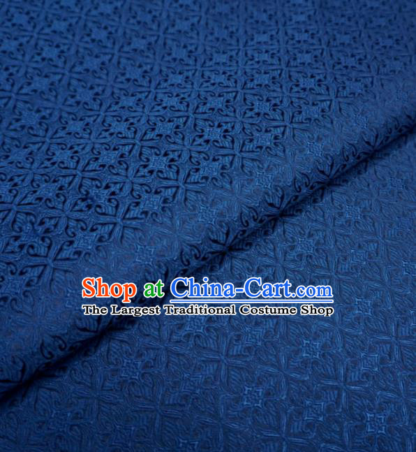 Chinese Traditional Pattern Design Navy Brocade Fabric Asian Satin China Hanfu Silk Material
