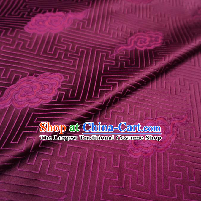 Chinese Traditional Clouds Pattern Design Purple Brocade Fabric Asian Satin China Hanfu Silk Material