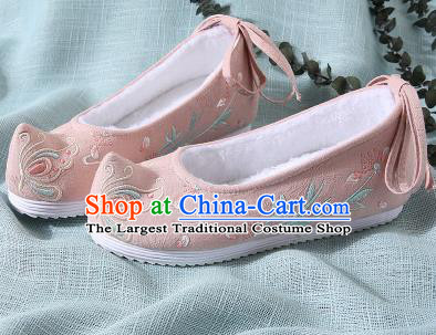 Chinese Handmade Embroidered Butterfly Pink Shoes Traditional Ming Dynasty Hanfu Shoes Princess Shoes for Women