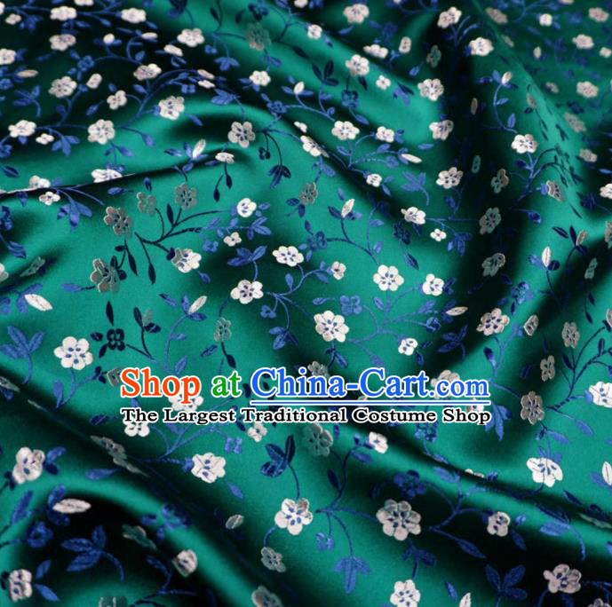 Chinese Traditional Plum Pattern Design Deep Green Brocade Fabric Asian Satin China Hanfu Silk Material