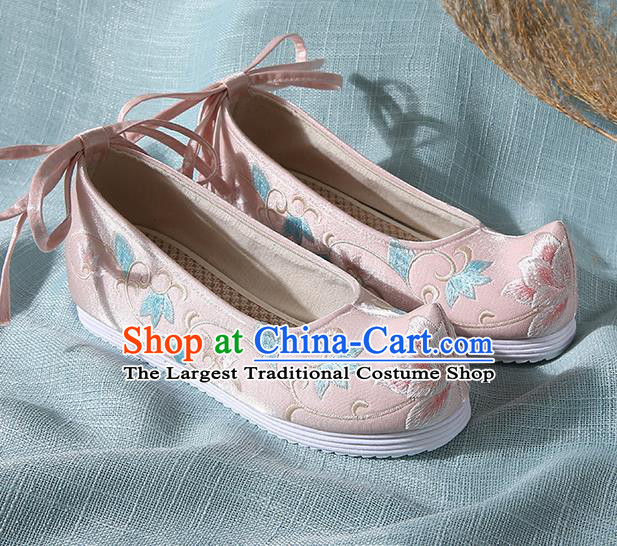 Chinese Handmade Embroidered Twine Flower Pink Bow Shoes Traditional Ming Dynasty Hanfu Shoes Princess Shoes for Women