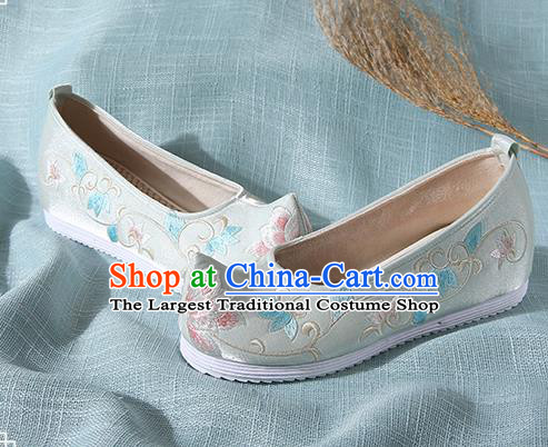 Chinese Handmade Embroidered Twine Flower Light Green Bow Shoes Traditional Ming Dynasty Hanfu Shoes Princess Shoes for Women