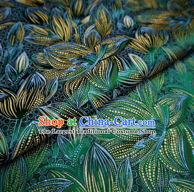 Chinese Traditional Lily Flowers Pattern Design Deep Green Brocade Fabric Asian Satin China Hanfu Silk Material