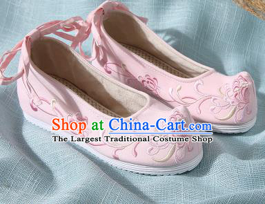 Chinese Handmade Embroidered Chrysanthemum Pink Bow Shoes Traditional Ming Dynasty Hanfu Shoes Princess Shoes for Women