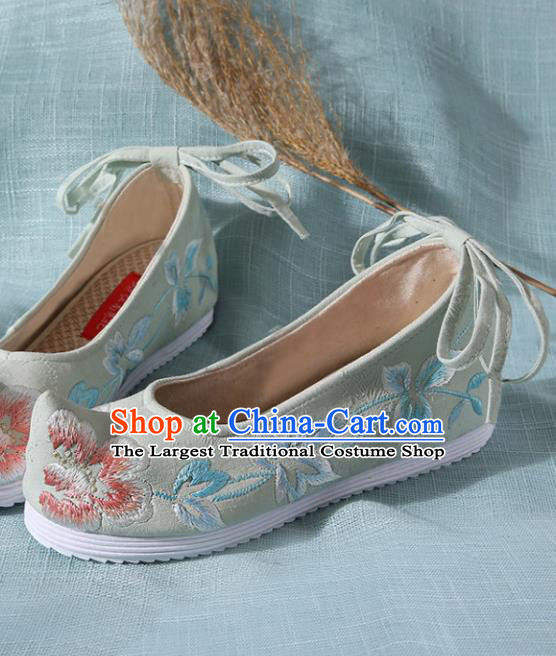 Chinese Handmade Embroidered Peony Light Green Bow Shoes Traditional Ming Dynasty Hanfu Shoes Princess Shoes for Women