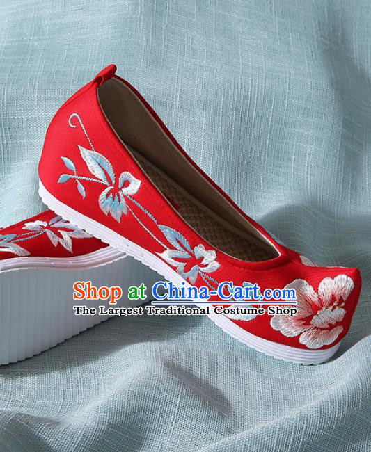Chinese Handmade Embroidered Peony Red Bow Shoes Traditional Ming Dynasty Hanfu Shoes Princess Shoes for Women