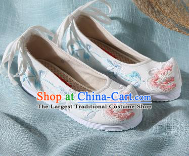 Chinese Handmade Embroidered Peony White Bow Shoes Traditional Ming Dynasty Hanfu Shoes Princess Shoes for Women