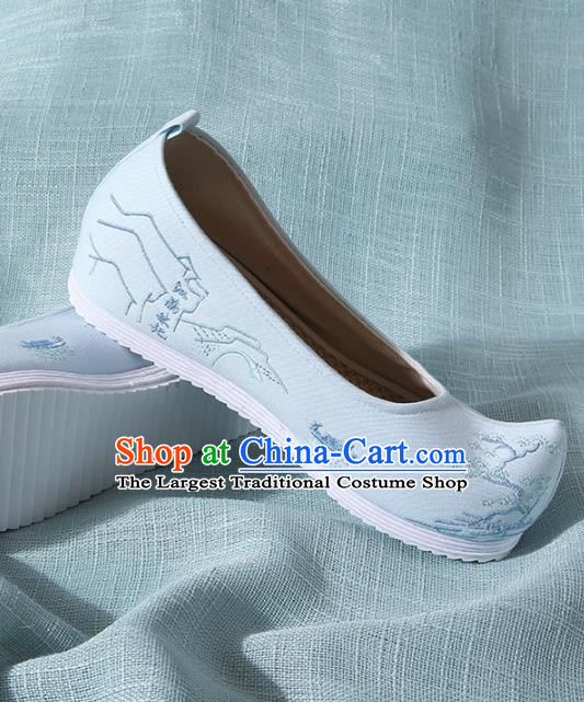 Chinese Handmade Embroidered Pine Blue Bow Shoes Traditional Ming Dynasty Hanfu Shoes Princess Shoes for Women